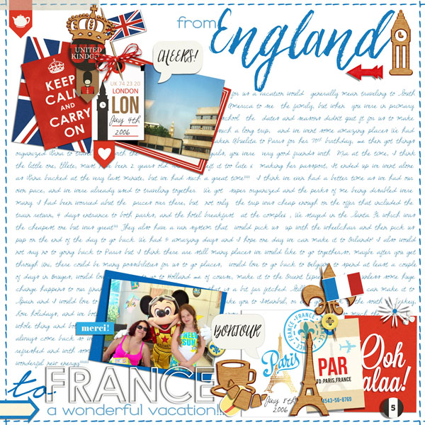 France England Digital Scrapbook Layout page using Project Mouse (World): France  United Kingdom by Britt-ish Design and Sahlin Studio