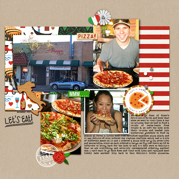 Ciao Pizza  Italy Italian Digital Scrpabook  Layout page using Project Mouse (World): Italy by Britt-ish Design and Sahlin Studio