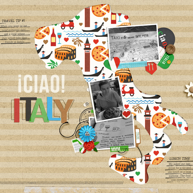 Ciao Italy Italian Digital Scrpabook  Layout page using Project Mouse (World): Italy by Britt-ish Design and Sahlin Studio