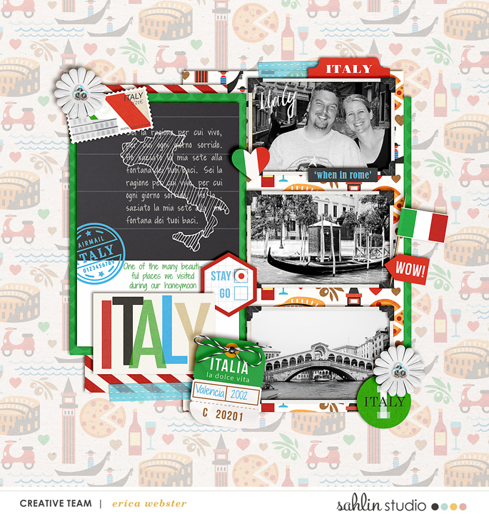 Venice Italy Italian Digital Scrpabook  Layout page using Project Mouse (World): Italy by Britt-ish Design and Sahlin Studio