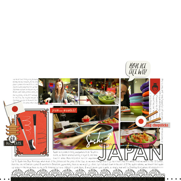 Japan Sushi Digital Scrapbooking Layout page using Project Mouse (World): Japan by Britt-ish Design and Sahlin Studio