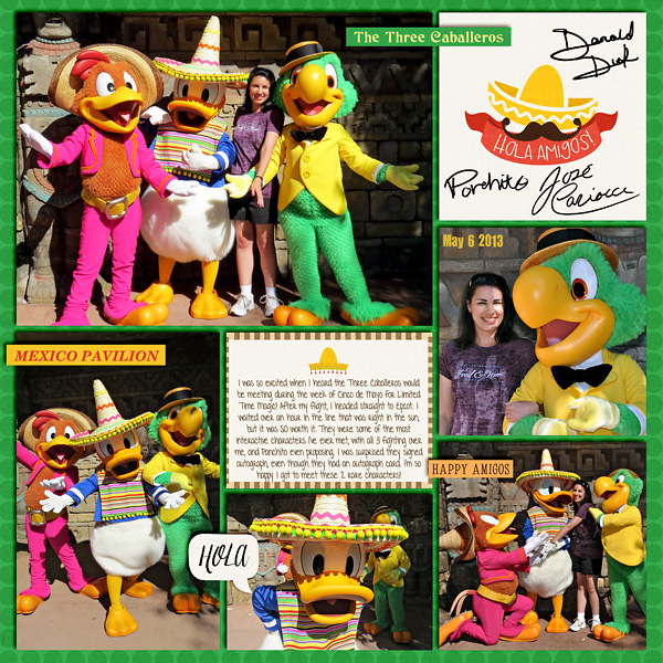 Disney Epcot Mexico Three Caballeros Project Life Layout page using Project Mouse (World): Mexico by Britt-ish Design and Sahlin Studio