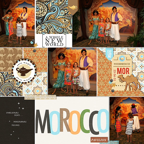 Genie Jasmine Aladdin Morocco Digital Project Life Layout page using Project Mouse (World): Morocco by Britt-ish Design and Sahlin Studio