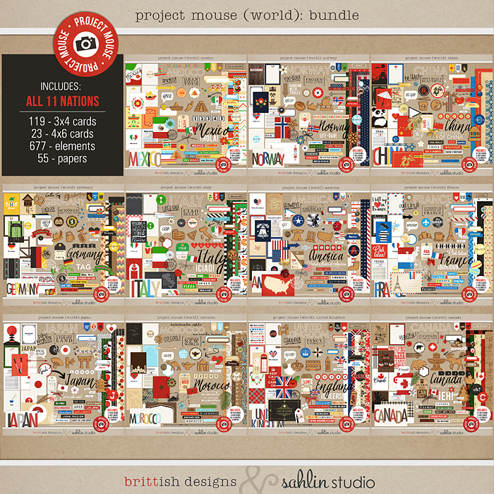 Project Mouse (World)  journal Cards & Kits  by Britt-ish Design and Sahlin Studio - Perfect for your Project Life or Project Mouse Disney Epcot Album!!  Canada, France, Mexico, Norway, Japan, Italy, China, America, Canada, United Kingdom, France
