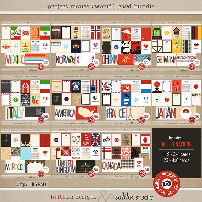 Project Mouse (World): Journal Card BUNDLE by Britt-ish Design and Sahlin Studio  - Perfect for Disney Epcot Project Mouse album or Project Life albums!!