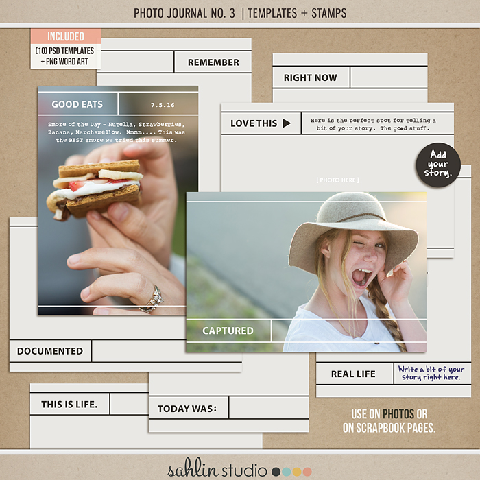Photo Journal No. 3 (Templates & Stamps) by Sahlin Studio - Perfect for Project Life albums and PHOTOS!!