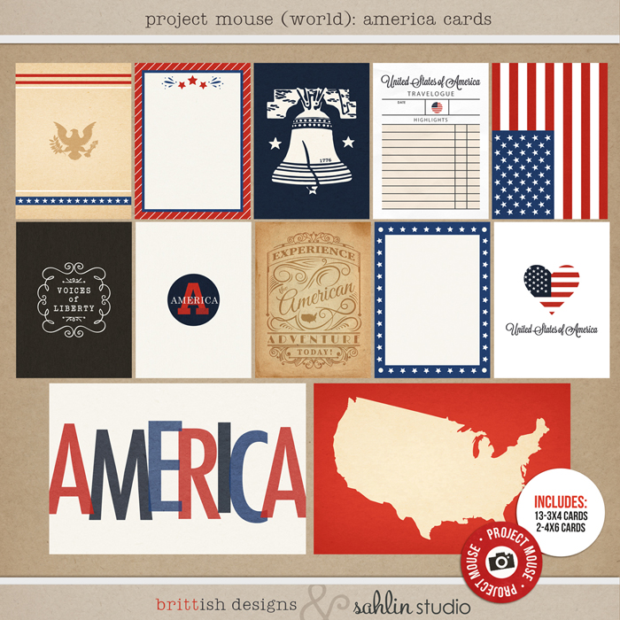 Project Mouse (World): America Journal Cards by Britt-ish Design and Sahlin Studio - Perfect for your Project Life or Project Mouse Disney Epcot Album