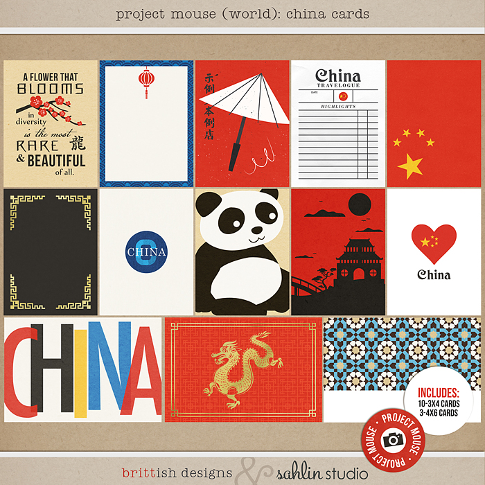 Project Mouse (World): China  Journal Cards by Britt-ish Design and Sahlin Studio - Perfect for your Project Life or Project Mouse Disney Epcot Album