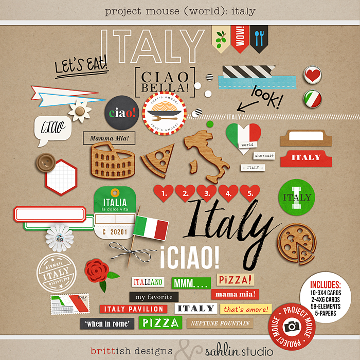 Project Mouse (World): Italy by Britt-ish Design and Sahlin Studio - Perfect for your Project Life or Project Mouse Disney Epcot Album!