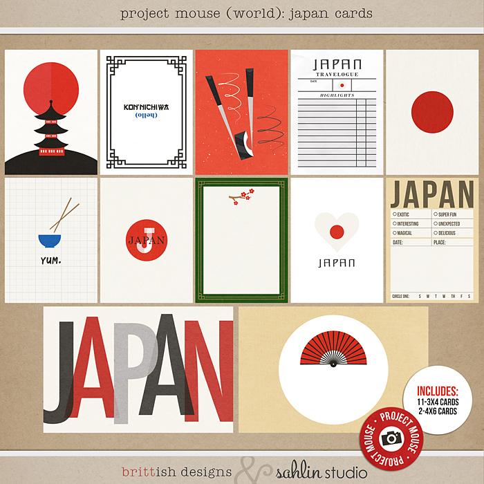 Project Mouse (World): Japan journal Cards by Britt-ish Design and Sahlin Studio - Perfect for your Project Life or Project Mouse Disney Epcot Album!