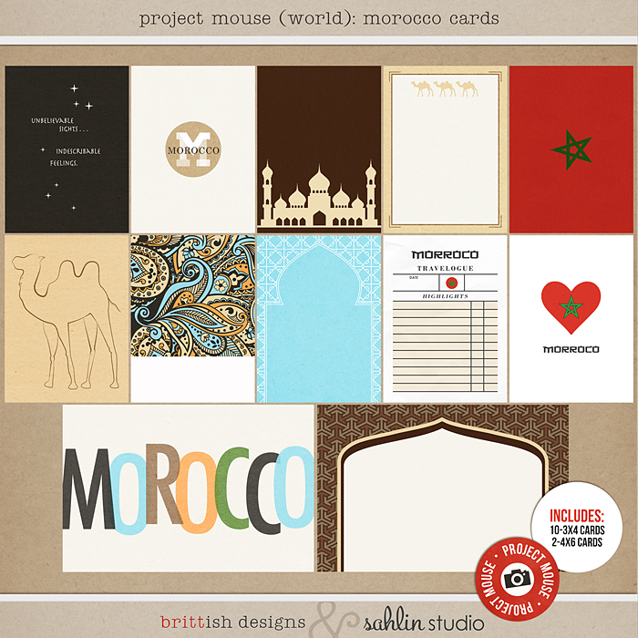Project Mouse (World): Morocco Journal Cards by Britt-ish Design and Sahlin Studio - Perfect for your Project Life or Project Mouse Disney Epcot Album!