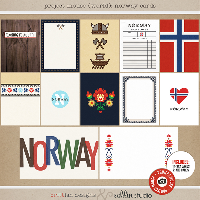 Project Mouse (World): Norway Journal Cards by Britt-ish Design and Sahlin Studio - Perfect for your Project Life or Project Mouse Disney Epcot Album!