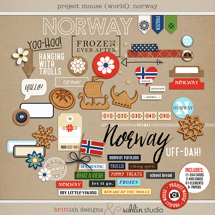 Project Mouse (World): Norway by Britt-ish Design and Sahlin Studio - Perfect for your Project Life or Project Mouse Disney Epcot Album!