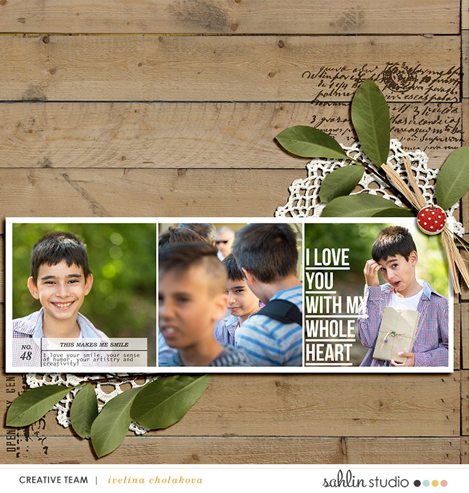 This Makes Me Smile digital scrapbooking page featuring Photo Journaling The Reason Why by Sahlin Studio and Lined Up Word Art No1 by Sahlin Studio