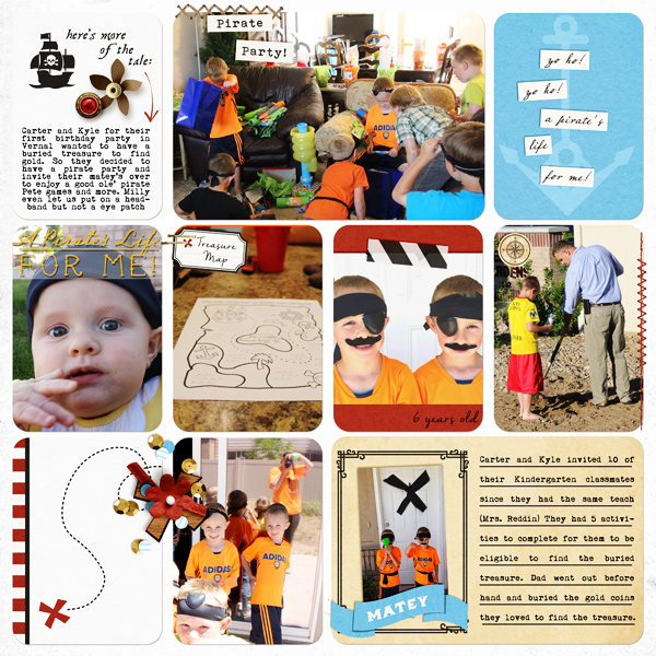 Pirate Party digital project life page using Project Mouse (Pirates) by Britt-ish Designs and Sahlin Studio