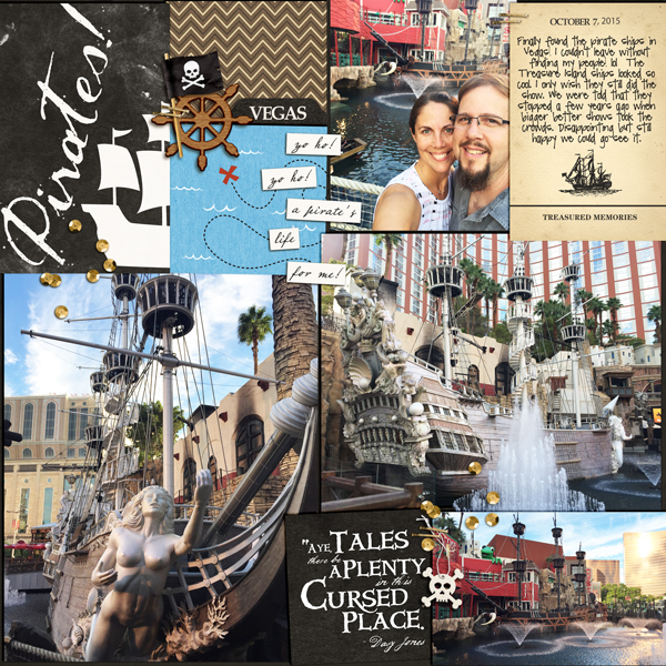 Pirate ship in Vegas digital project life page using Project Mouse (Pirates) by Britt-ish Designs and Sahlin Studio