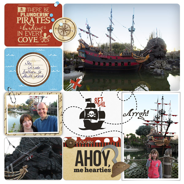 Set sail digital project life page using Project Mouse (Pirates) by Britt-ish Designs and Sahlin Studio