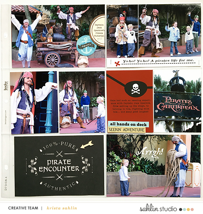 Pirate Tutorial Jack Sparrow Pirates of the Caribbean Project Life page using Project Mouse (Pirates) by Britt-ish Designs and Sahlin Studio