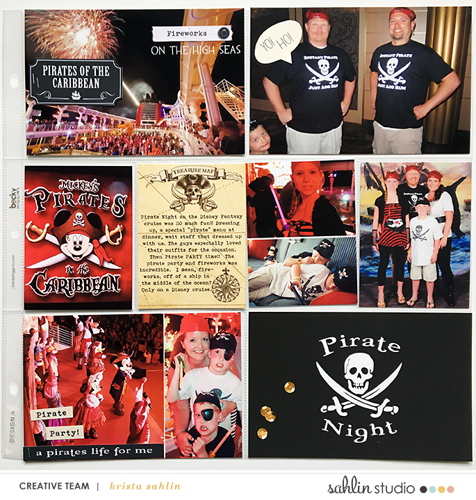 Disney Fantasy Cruise Pirates Night Project Life page using Project Mouse (Pirates) by Britt-ish Designs and Sahlin Studio