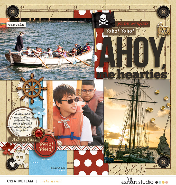 Ahoy digital scrapbooking page using Project Mouse (Pirates) by Britt-ish Designs and Sahlin Studio