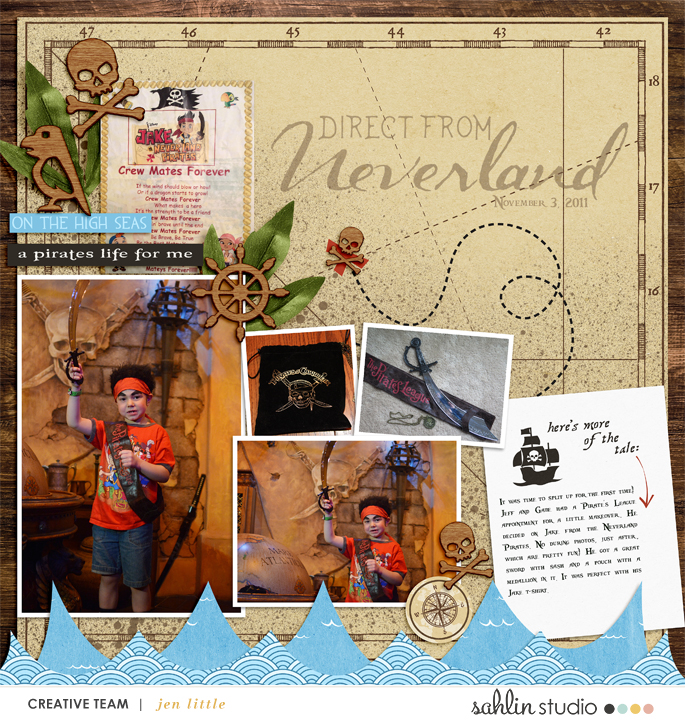 Direct From Neverland digital scrapbooking page using Project Mouse (Pirates) by Britt-ish Designs and Sahlin Studio