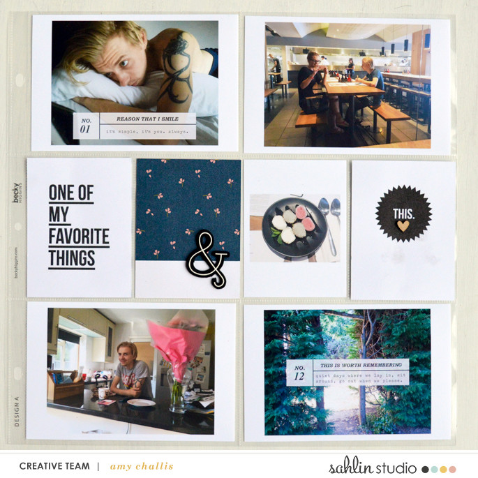 One of my favorite things project life hybrid page featuring Photo Journaling The Reason Why by Sahlin Studio and Lined Up Word Art No1 by Sahlin Studio