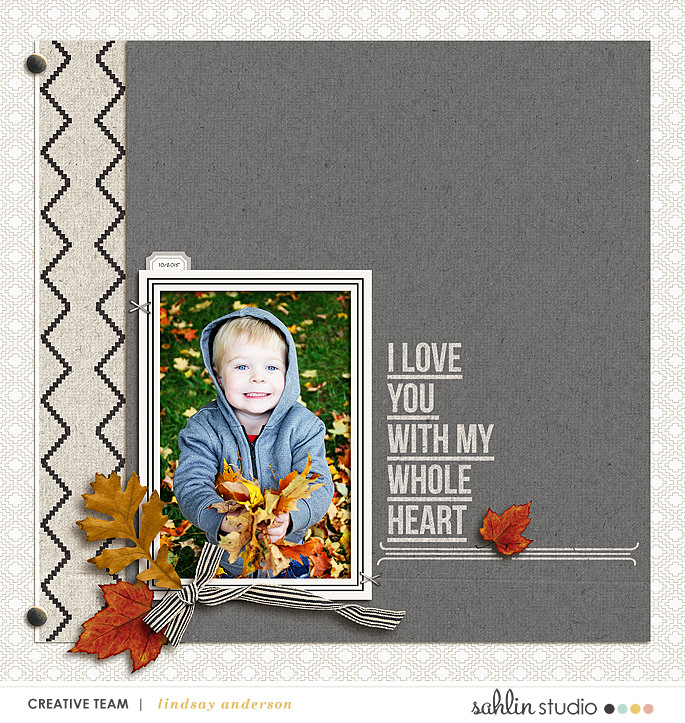Love You With My Whole Heart Digital Scrapbooking featuring Photo Journaling | The Reason Why and Lined Up Word Art by Sahlin Studio