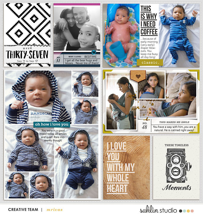 Week 37 digital project life page This Makes Me Smile digital scrapbooking page featuring Photo Journaling The Reason Why by Sahlin Studio and Lined Up Word Art No1 by Sahlin Studio