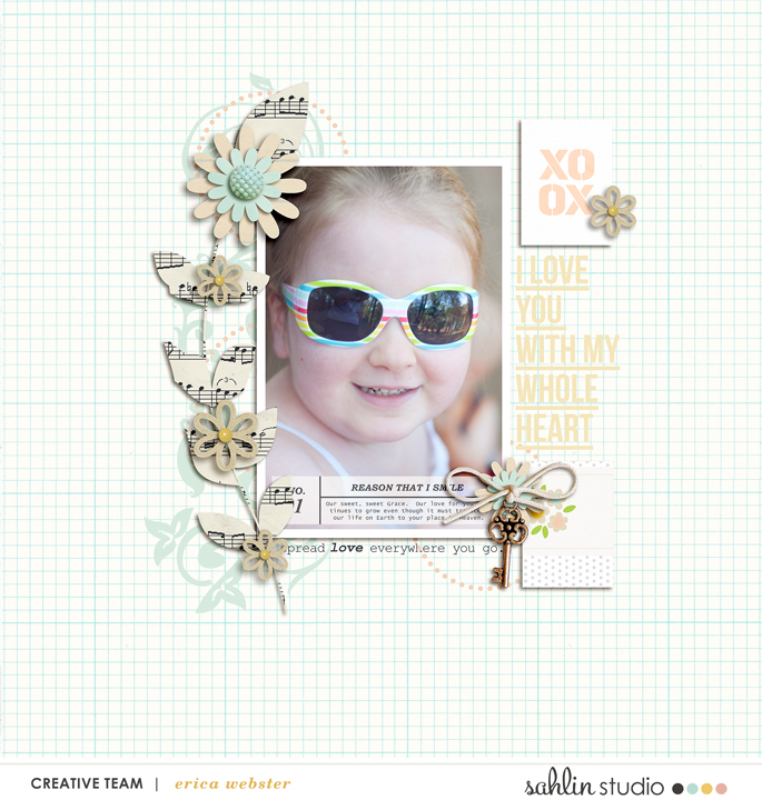 Xoxo digital scrapbooking page featuring Photo Journaling The Reason Why by Sahlin Studio and Lined Up Word Art No1 by Sahlin Studio