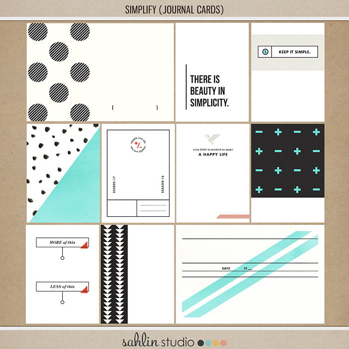 Simplify | Journal Cards by Sahlin Studio - Perfect for your Project Life albums!