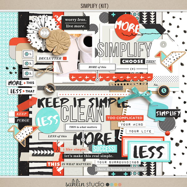 Simplify | Scrapbook Kit by Sahlin Studio - Perfect for your Project Life albums!