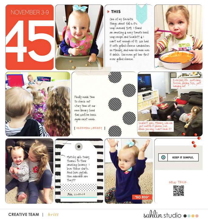 Life Digital project life page featuring Simplify by Sahlin Studio