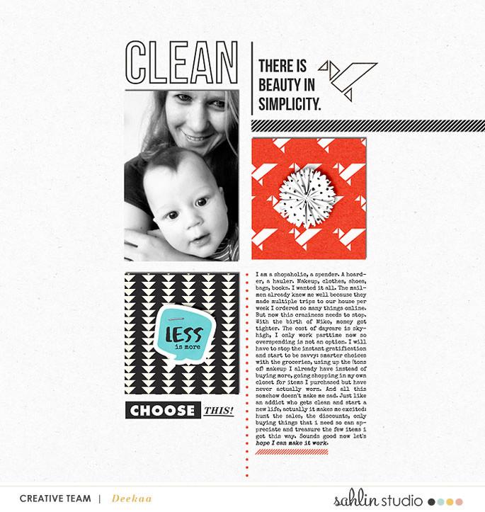 Clean digital scrapbook page featuring Simplify by Sahlin Studio