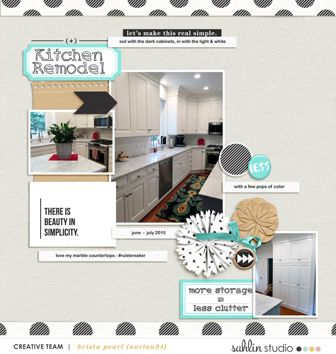 Kitchen Remodel digital scrapbook page featuring Simplify by Sahlin Studio
