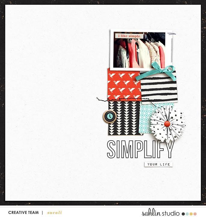 Simplify digital scrapbooking page featuring Simplify by Sahlin Studio