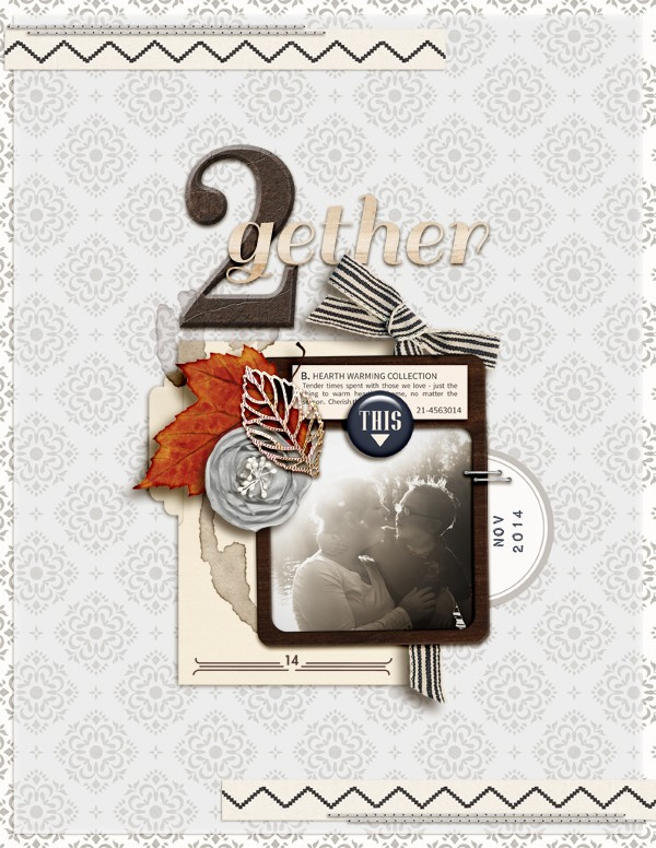 Gather Together digital scrapbooking layout featuring Chesterfield by Sahlin Studio
