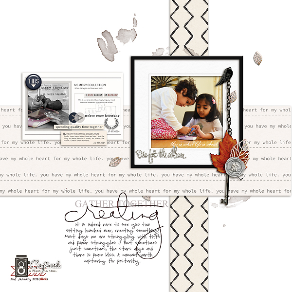 Gather Together Creating digital scrapbooking layout featuring Chesterfield by Sahlin Studio