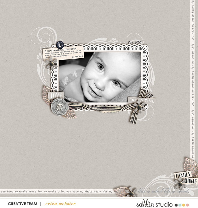 Family Home digital scrapbooking layout featuring Chesterfield by Sahlin Studio