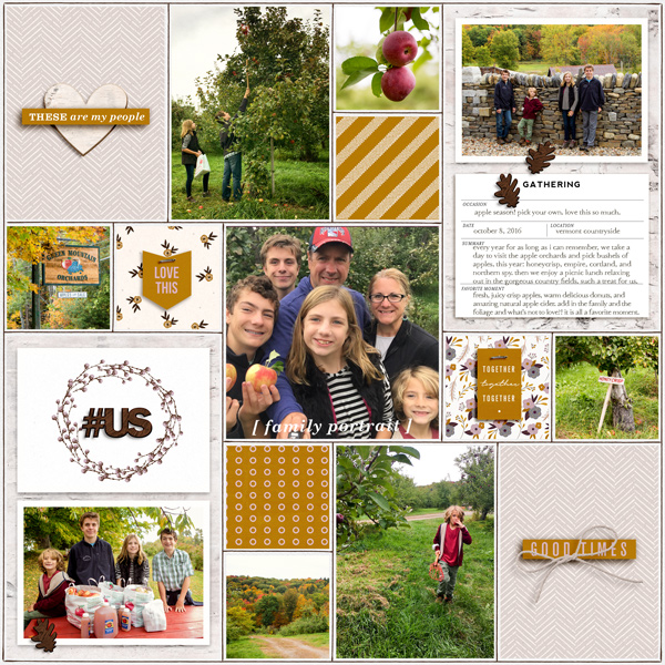 Digital project life Scrapbooking page using Kindred - Digital Scrapbooking Papers and Kit by Sahlin Studio