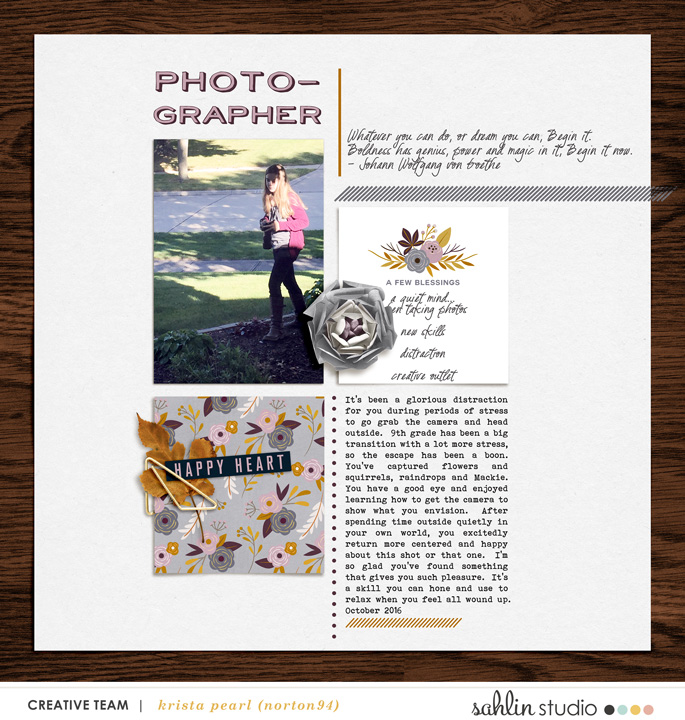 Digital Scrapbooking page using Kindred - Papers and Kit by Sahlin Studio