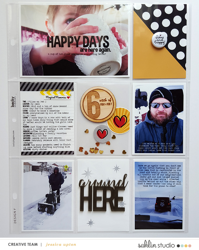 Week 6 Project Life Hybrid Page by Jessica Upton using Sahlin Studio Printables