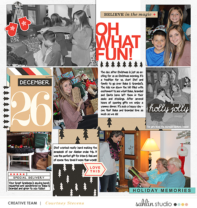 Oh What Fun digital Project Life page using Oh What Fun - Digital Printable Scrapbooking Kit by Sahlin Studio