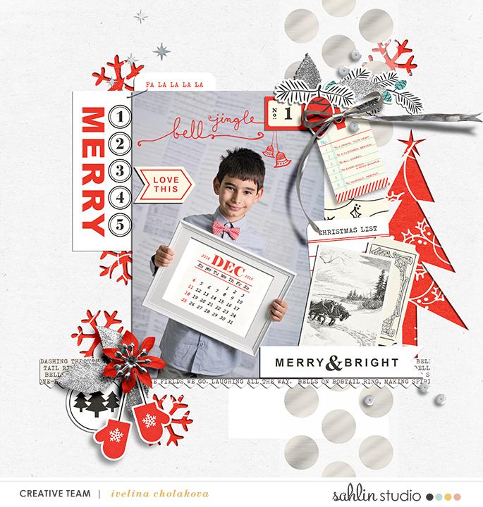 Merry digital scrapbooking page using Oh What Fun - Digital Printable Scrapbooking Kit by Sahlin Studio