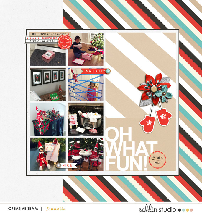 Oh What Fun digital scrapbooking double page using Oh What Fun - Digital Printable Scrapbooking Kit by Sahlin Studio