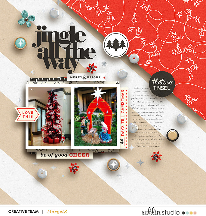 Jingle All The way digital scrapbooking page using Oh What Fun - Digital Printable Scrapbooking Kit by Sahlin Studio