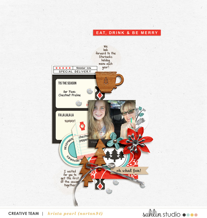 Digital scrapbooking page using Oh What Fun - Digital Printable Scrapbooking Kit by Sahlin Studio