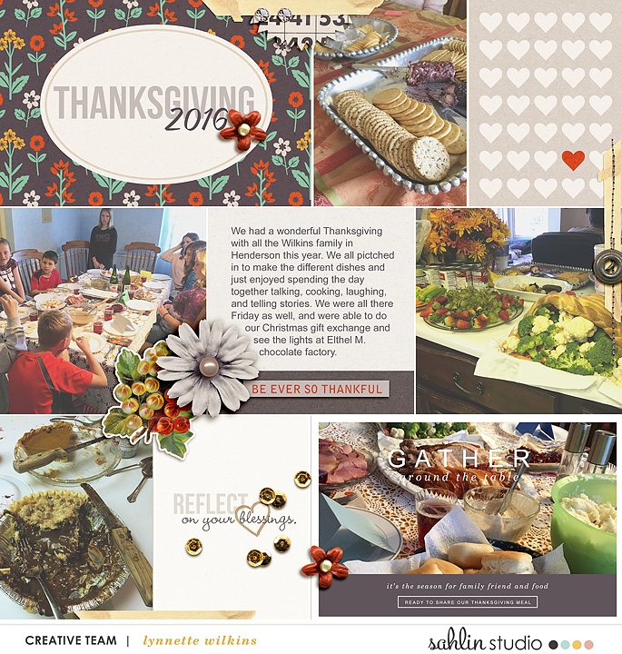 Thanksgiving Project Life page using Photo Journal Templates by Sahlin Studio