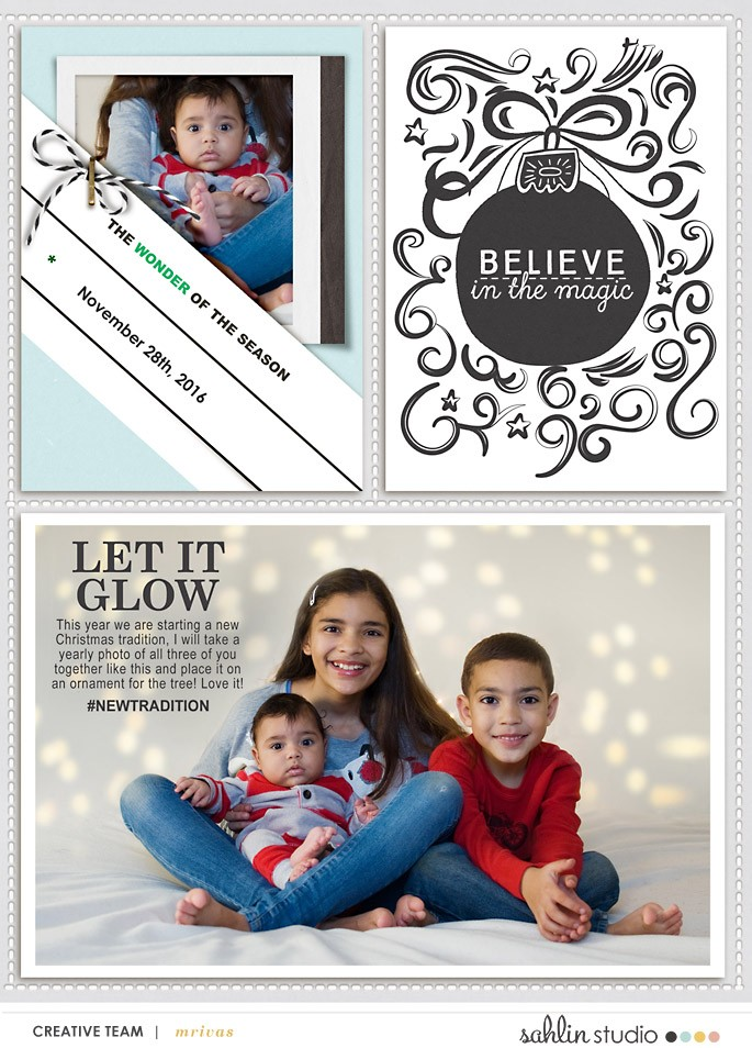 Believe digital project life page using Photo Journal Templates by Sahlin Studio
