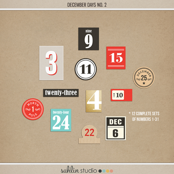 December Days No 2 - Digital Printable Scrapbooking Element Pack by Sahlin Studio - Perfect for your Project Life or December Daily albums!!