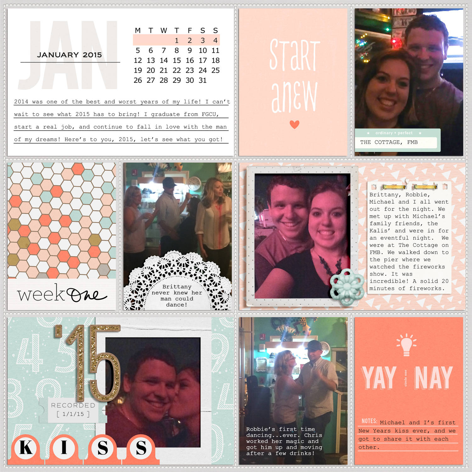 Digital Scrapbooking Layout using the Calendar Cards from Sahlin Studio - Now in 2017!!